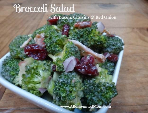 Broccoli Salad with Bacon, Craisins & Red Onion