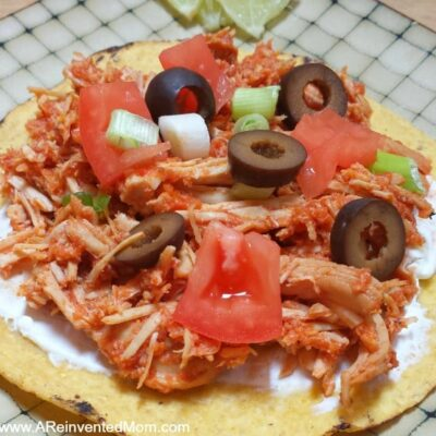 Chicken Tinga Tostada - feature | A Reinvented Mom
