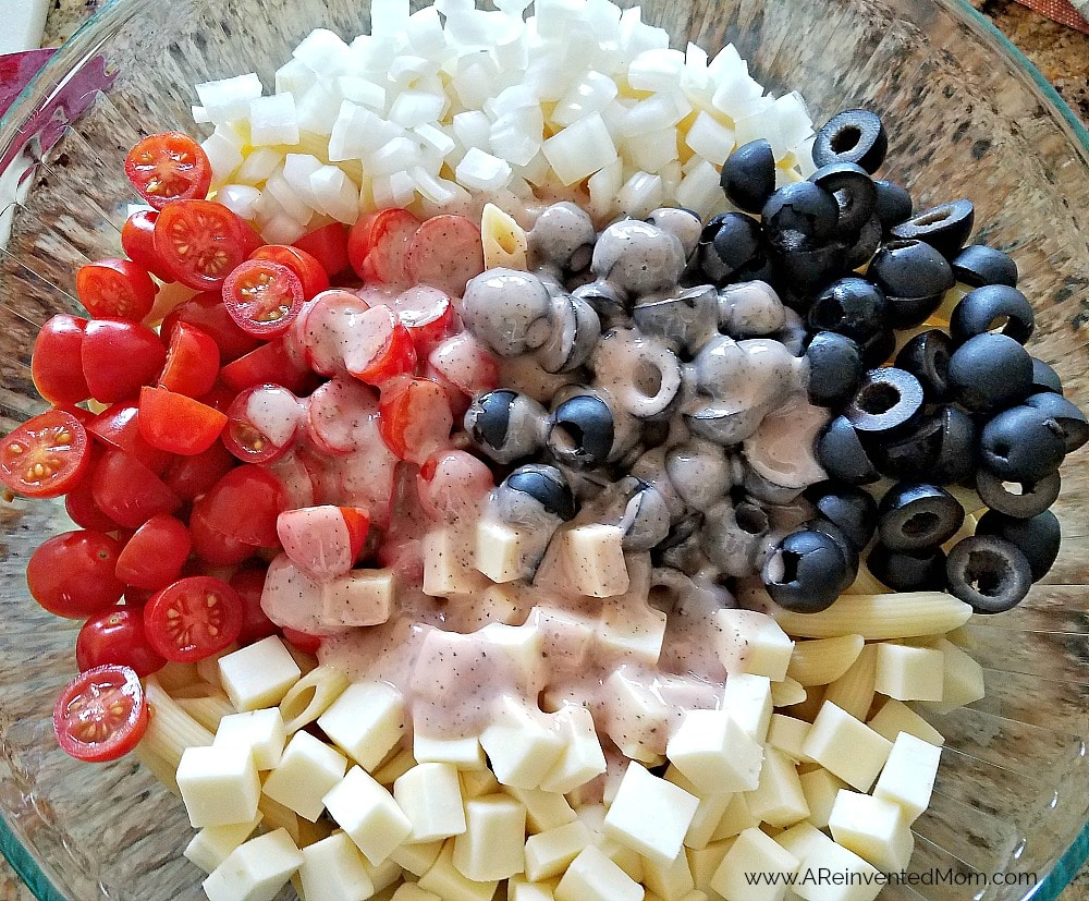 Favorite Pasta Salad ingredients | www.AReinventedMom.com