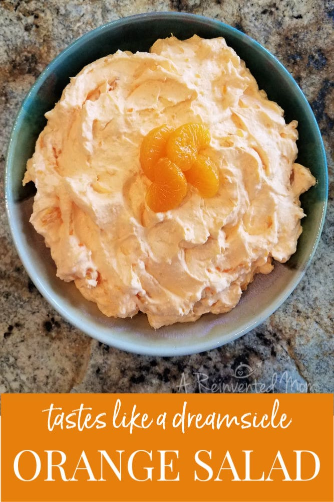 Top view of a bowl of Orange Salad | A Reinvented Mom #orangesalad
