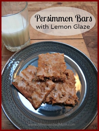 Persimmon Bars with Lemon Glaze | A Reinvented Mom