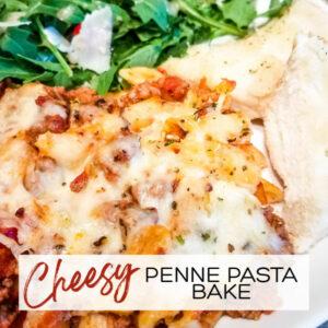 Easy Cheesy Penne Pasta Bake | A Reinvented Mom #easypennepasta #weeknightdinner