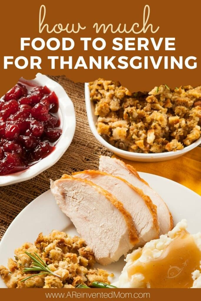 Plate of sliced turkey, stuffing & green beans with side dishes of cranberry sauce & stuffing. Thanksgiving Serving Size Guide | A Reinvented Mom