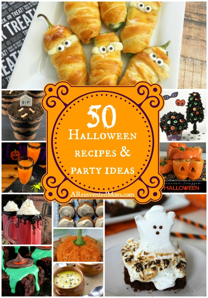 Picture collage of Halloween Recipes & Party Ideas | A Reinvented Mom