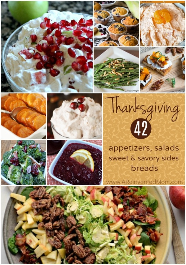 Round out your holiday menu with these easy Thanksgiving side dishes - appetizers, sweet & savory sides, salads and breads.