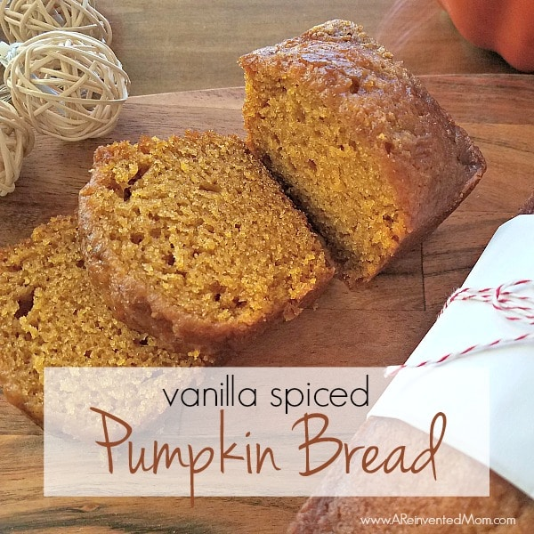 Looking to jazz up your Thanksgiving bread basket or dessert table? A batch of Vanilla Spiced Pumpkin Bread should do the trick. | A Reinvented Mom