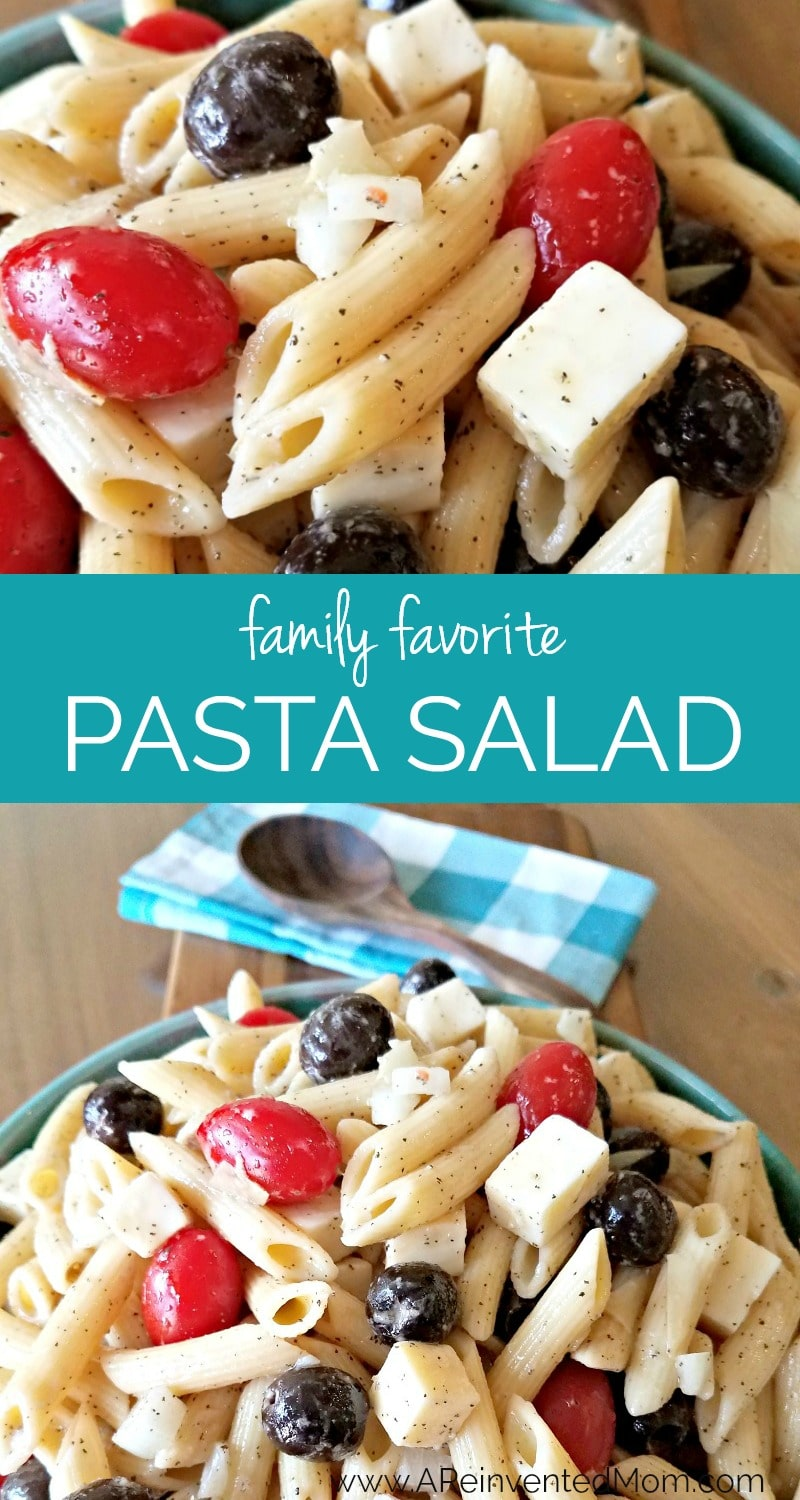 "Packed with veggies, toppings & a flavorful vinaigrette, Favorite Pasta Salad is my ""go-to"" pasta salad recipe for cookouts, potlucks and family dinners."