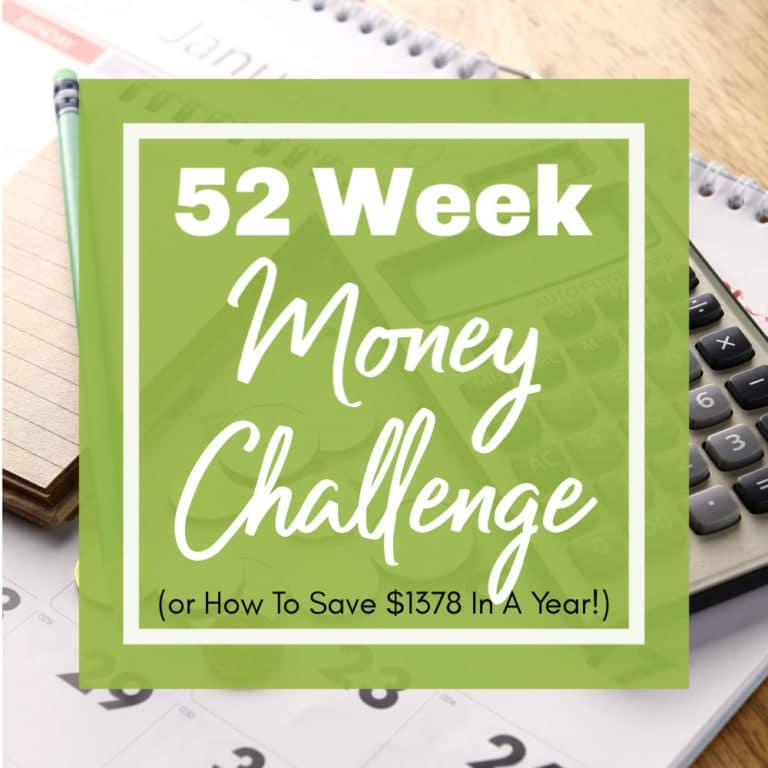Save over $1,300 with the 52-Week Money Saving Challenge & FREE Printable Savings Tracker