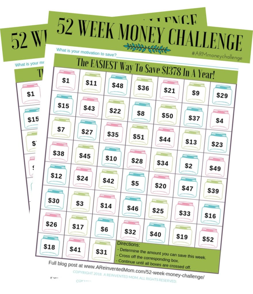 52 Week Money Challenge Worsheet 2Pics | A Reinvented Mom #52weekmoneychallenge