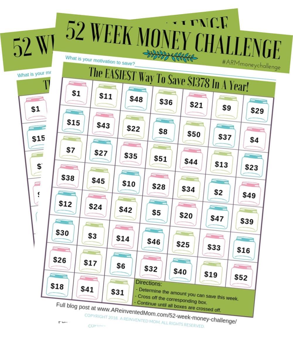Two copies of the 52 Week Money Challenge Worsheet tracker | A Reinvented Mom #52weekmoneychallenge