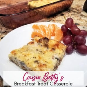 Slice of Cousin Betty's Easy Overnight Breakfast Treat Casserole | A Reinvented Mom #overnightbreakfastcasserole