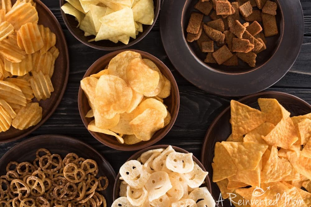 Using Leftover Party Food Bowls of Chips | A Reinvented Mom #partyleftovers #leftoverpartyfood
