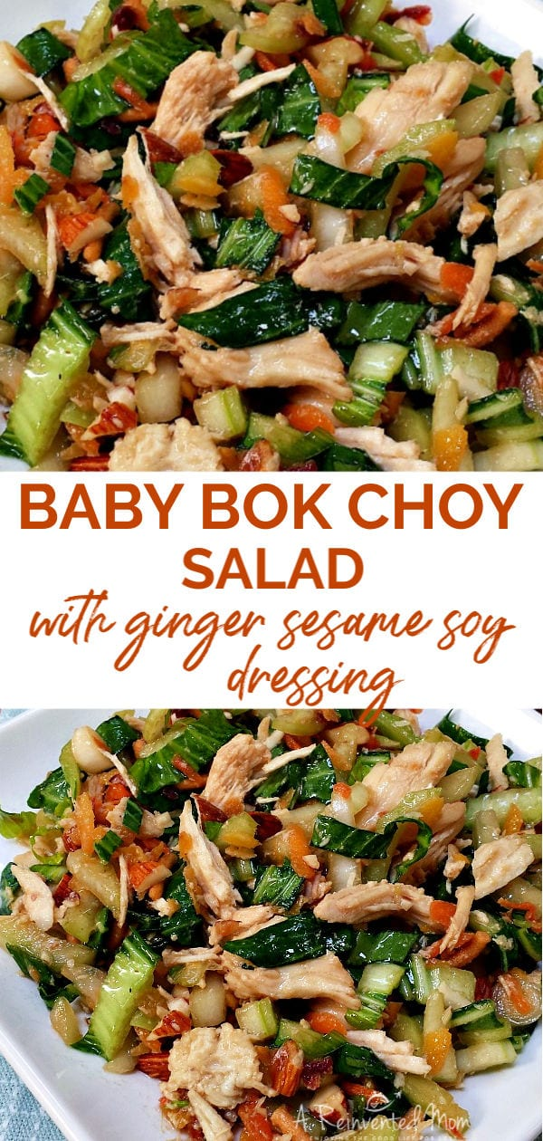 Plate of baby bok choy salad and closeup view | A Reinvented Mom