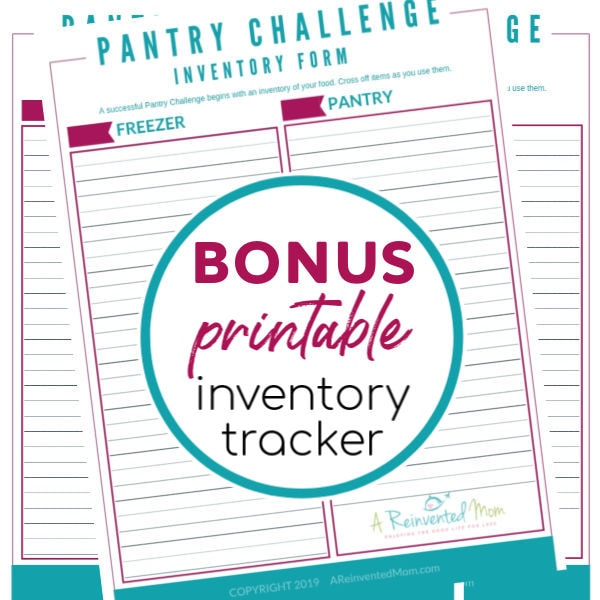 Pantry Challenge 2019 Inventory Sheet image with label | A Reinvented Mom #pantrychallenge2019