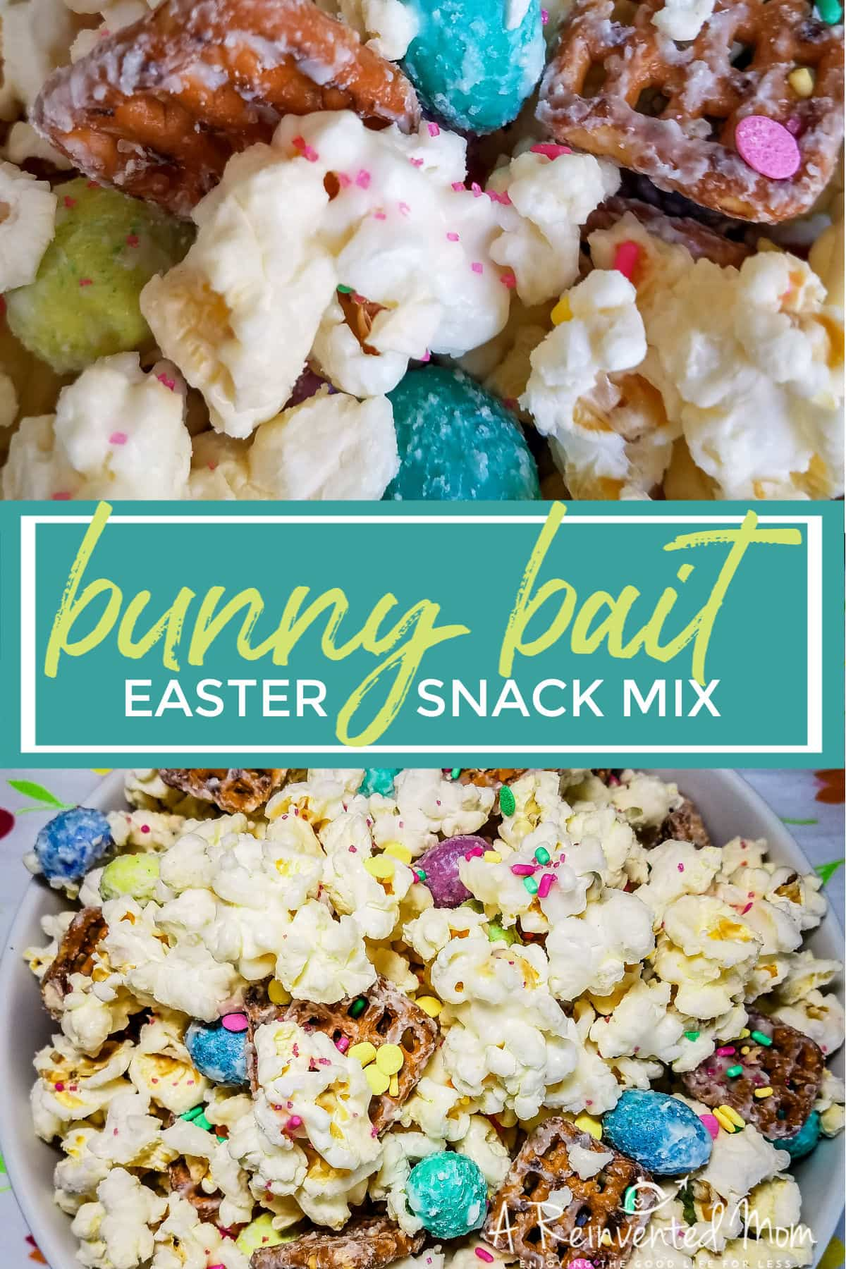 A snack lover's dream, Bunny Bait Trail Mix is a blend of popcorn, pretzels, 2 kinds of chocolate and...sprinkles. Everything is better with sprinkles! | A Reinvented Mom