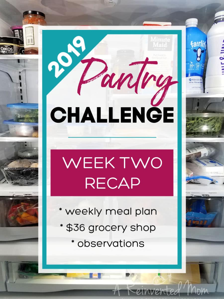 Pantry Challenge 2019 Week 2 Recap Pin | A Reinvented Mom #pantrychallenge