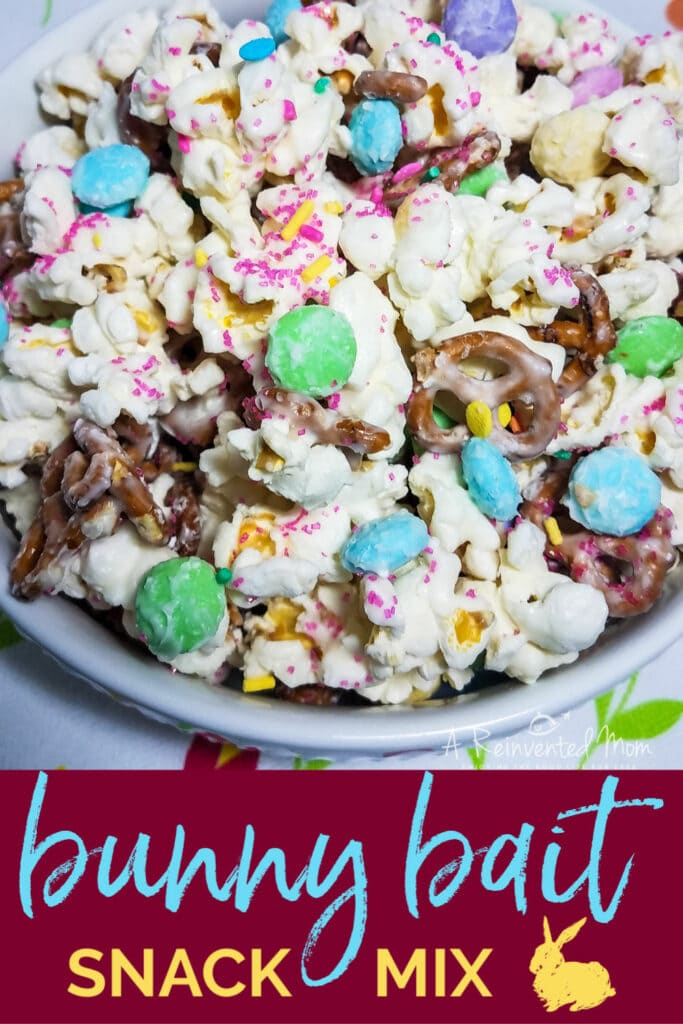Close up image of bowl of bunny bait snack mix | A Reinvented Mom