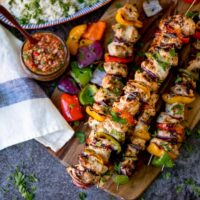 Mexican Chicken Skewers with Rice and Picante Salsa