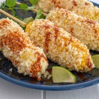 Mexican Corn: corn on the cob with mayo and Latin spices