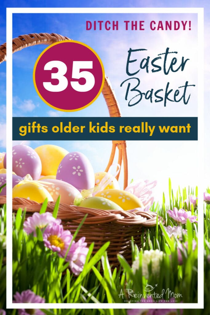 Easter basket in grass Pin image | A Reinvented Mom