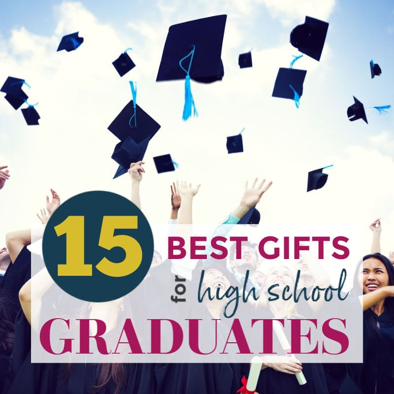 Graduation caps thrown in the air with Gifts for High School Graduates graphic | A Reinvented Mom #graduationgifts