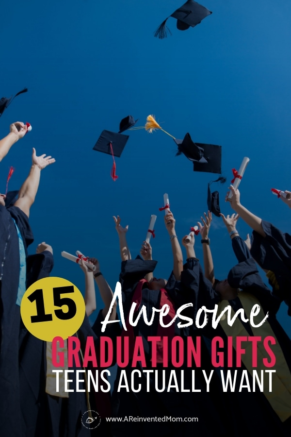 Grads tossing caps in the air with Gifts for High School Graduates graphic | A Reinvented Mom #graduationgifts