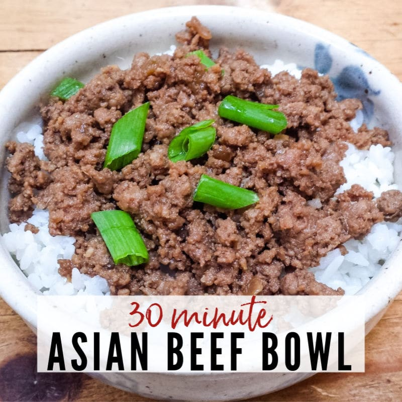 Bowl of Asian Beef Bowl garnished with green onions | A Reinvented Mom