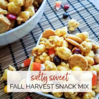 Closeup of bowl of coated popcorn & snack crachers with candy corn & candy coated chocolates. Salty Sweet Fall Harvest Snack Mix | A Reinvented Mom