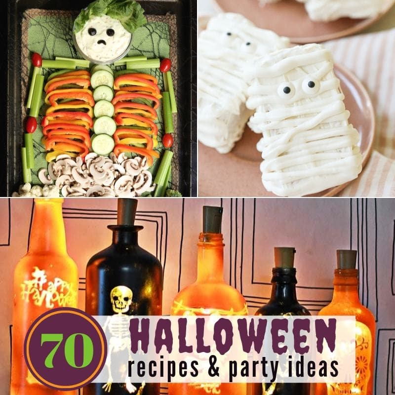 3 photo collage - vegetables shaped like a skeleton, rice krispie treats decorated like mummies & Halloween decorated bottles.