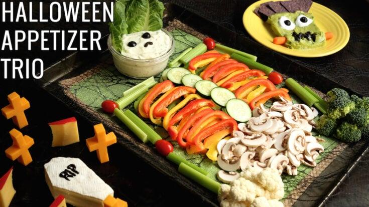 Halloween Veggie Tray Appetizer Trio Recipe | Healthy Recipes