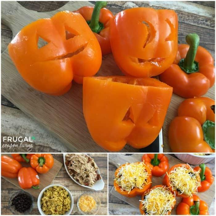 Mexican Stuffed Halloween Pumpkin Peppers