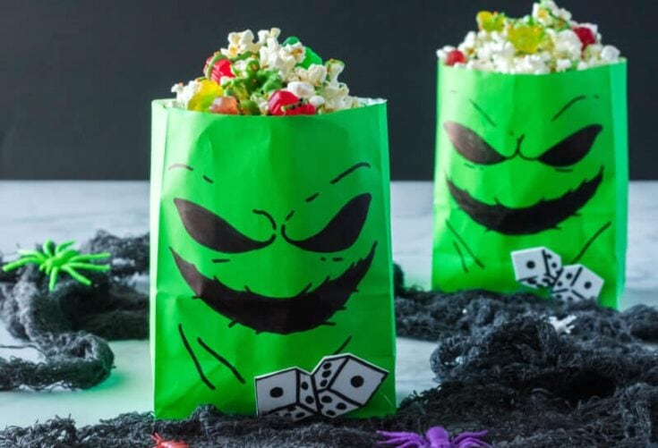 Oogie Boogie Treat Bags (With Bug Popcorn Recipe) - A Nighmare Before Christmas Party Idea