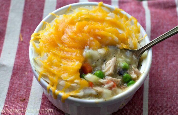 Cheesy Potato-Crusted Chicken Pot Pies