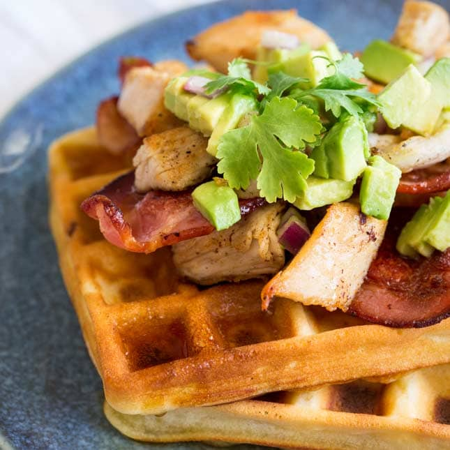 Fried Turkey Waffles with Bacon and Maple (leftovers recipe)
