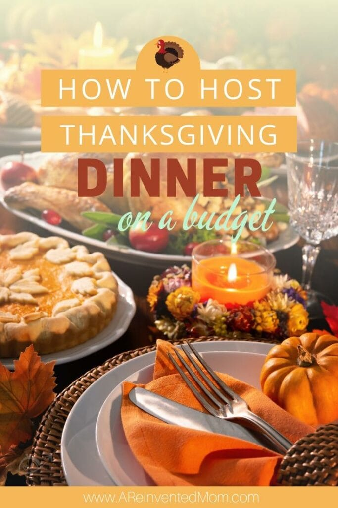 Cooked turkey, pumpkin pie, empty wine glass & Thanksgiving decorations | Hosting Thanksgiving on a Budget | A Reinvented Mom