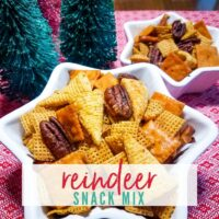 Closeup view of a white star-shaped bowl filled with corn Chex cereal, Bugles corn snacks, pretzels, cheese flavored crackers & pecans. Reindeer Snack Mix | A Reinvented Mom