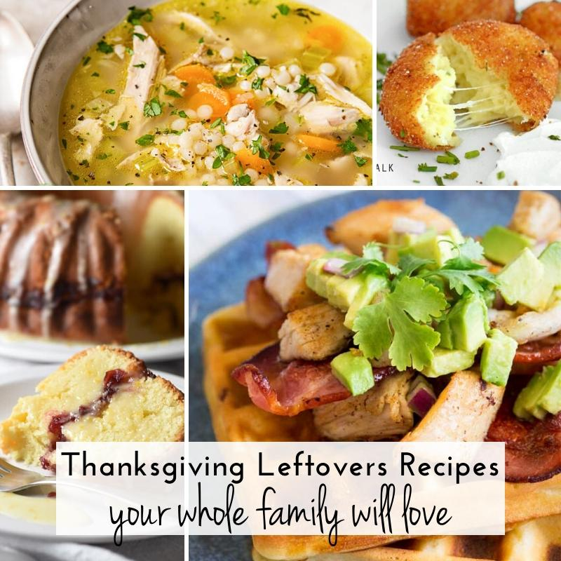 4 picture collage of soup, croquettes, cake & loaded waffles using Thanksgiving leftovers | A Reinvented Mom