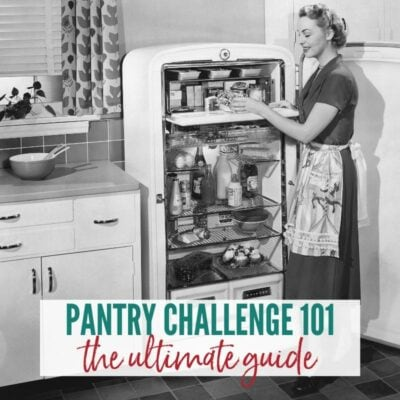 Retro black & white photo of woman standing in front of an open refrigerator filled with food | A Reinvented Mom #pantrychallenge