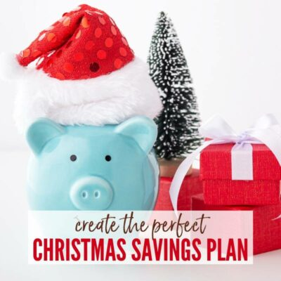 "Blue piggybank with a sequined Santa hat, wrapped presents, a white-tipped Christmas tree & a ""Create the Perfect Christmas Savings Plan"" graphic. 