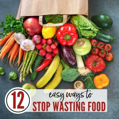 Assorted fruits & vegetables on a gray flatlay with 12 Easy Ways to Stop Wasting Food graphic | A Reinvented Mom