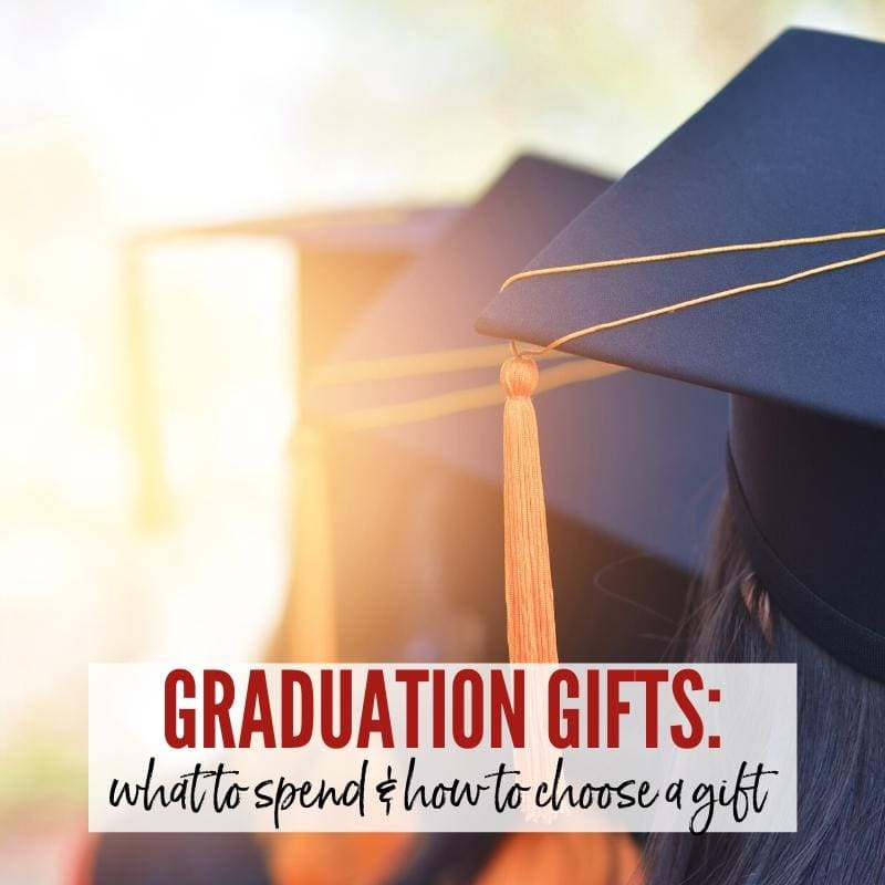 Graduation caps & tassels with Graduation Gift Etiquette graphic overlay | A Reinvented Mom