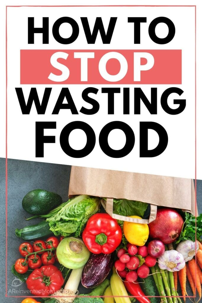 A variety of fruits & veggies on a dark background with How to STOP Wasting Food overlay | A Reinvented Mom