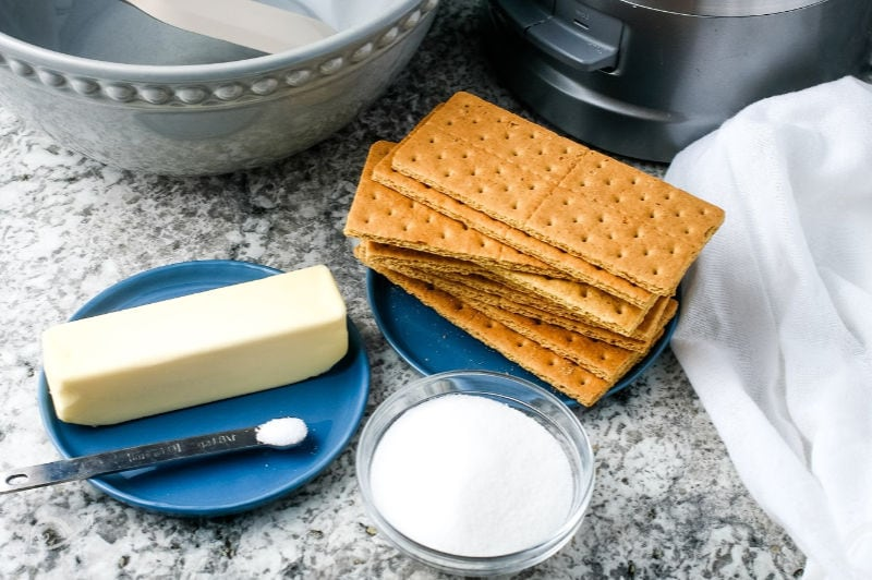 Graham crackers, butter, sugar, salt ingredients for Graham Cracker Crust recipe | A Reinvented Mom