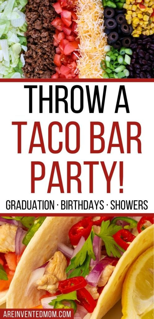 A plate of taco toppings and 2 chicken tacos with a Throw a Taco Bar Party graphic | A Reinvented Mom
