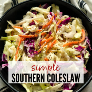 close up of slaw in a black bowl with text overlay