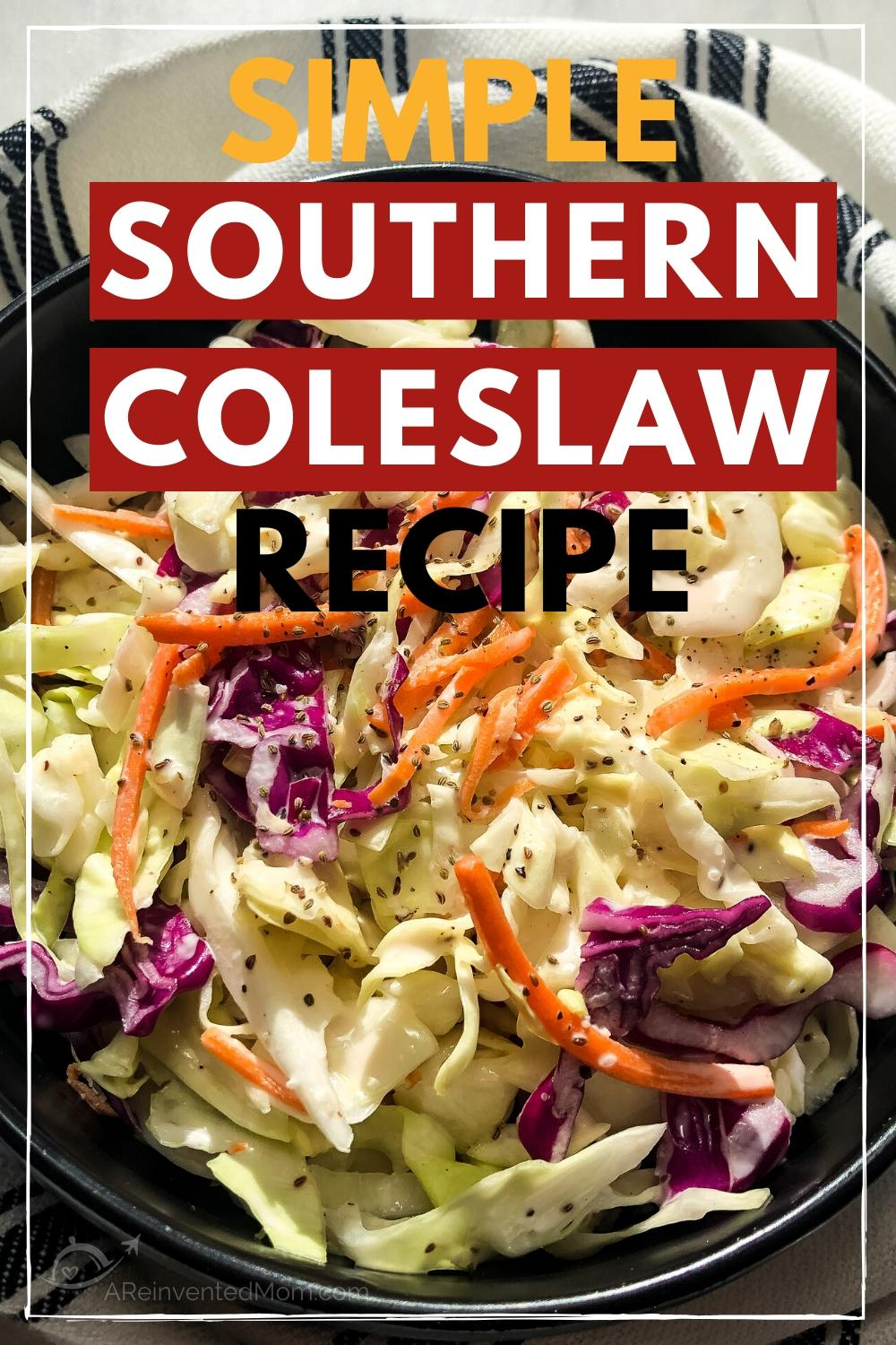 coleslaw in a black bowl on top of a striped dish towel with a text over lay