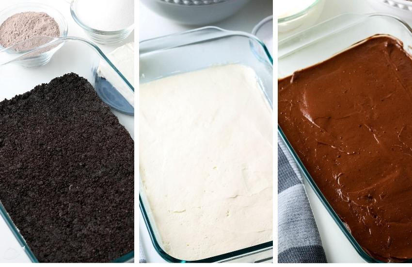 3 photos side by side, the first is the oreo layer in a casserole dish, next is the vanilla pudding layer, followed by the chocolate layer