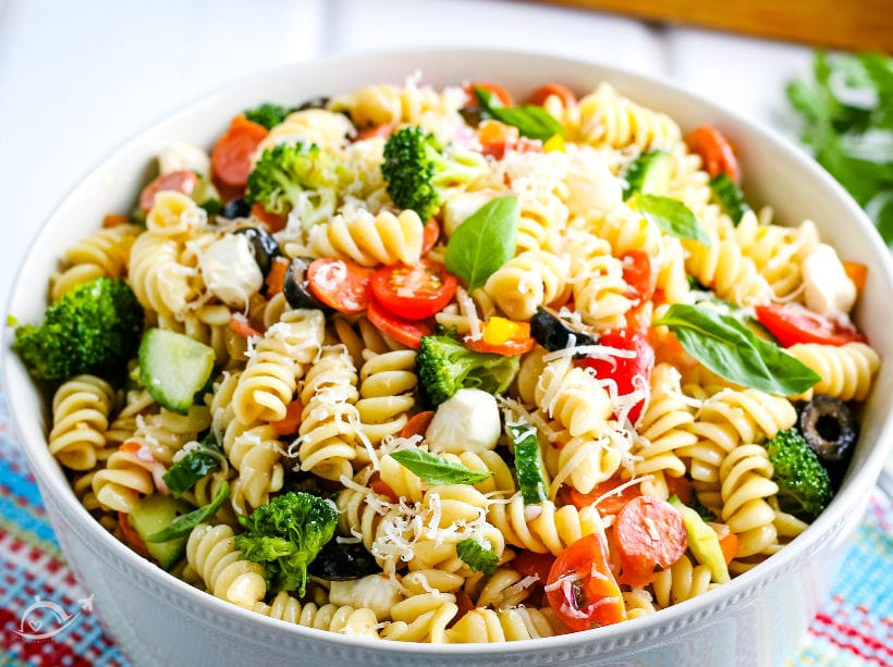 close up of italian pasta salad after it has been chilled