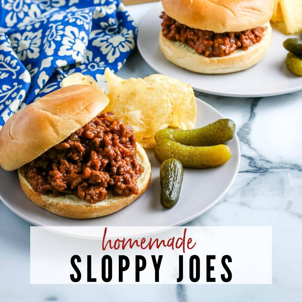 Sloppy Joes with chips and pickles on a white plate with blue flower napkin
