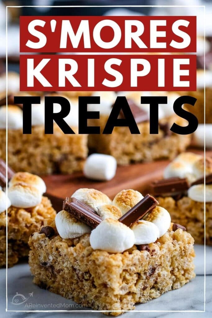 Close up of a Smores Rice Krispie Treats with more treats in the background and a graphic overlay.